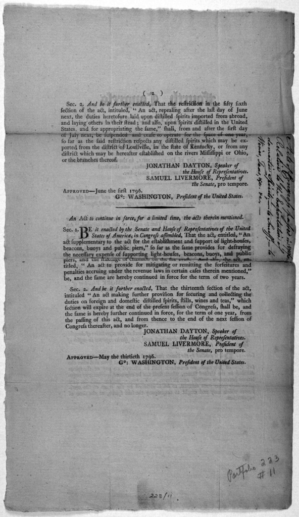 Fourth Congress of the United States: at the first session, begun and held at the City of Philadelphia, in the state of Pennsylvania, on Monday, the seventh of December, one thousand seven hundred and ninety-five. An act to suspend, in part, the