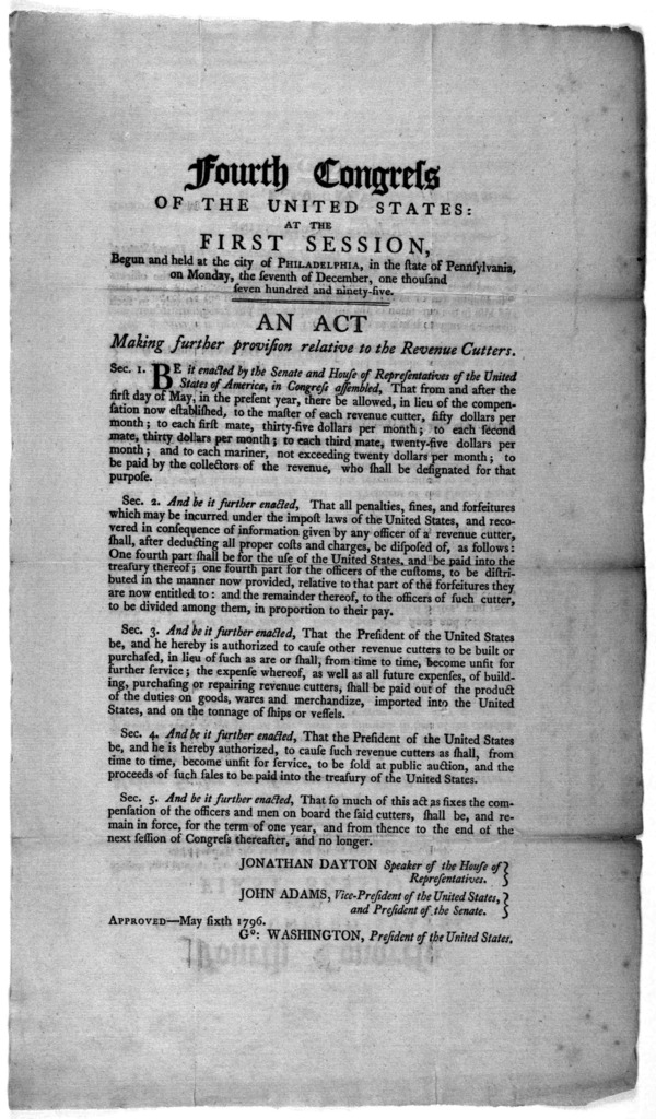 Fourth Congress of the United States: at the first session, begun and held at the city of Philadelphia, in the state of Pennsylvania, on Monday, the seventh of December, one thousand seven hundred and ninety-five. An act making further provision