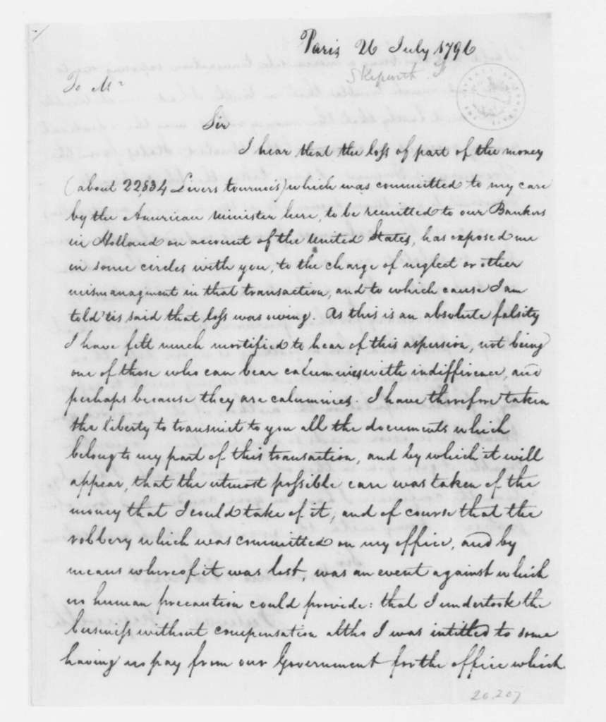 Fulwar Skipwith to Unknown, July 26, 1796. extra copy of July 21, 1796, never addressed.
