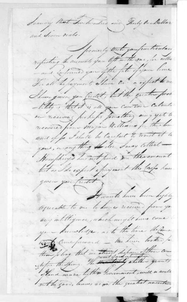 George Cochran to Andrew Jackson, November 18, 1796