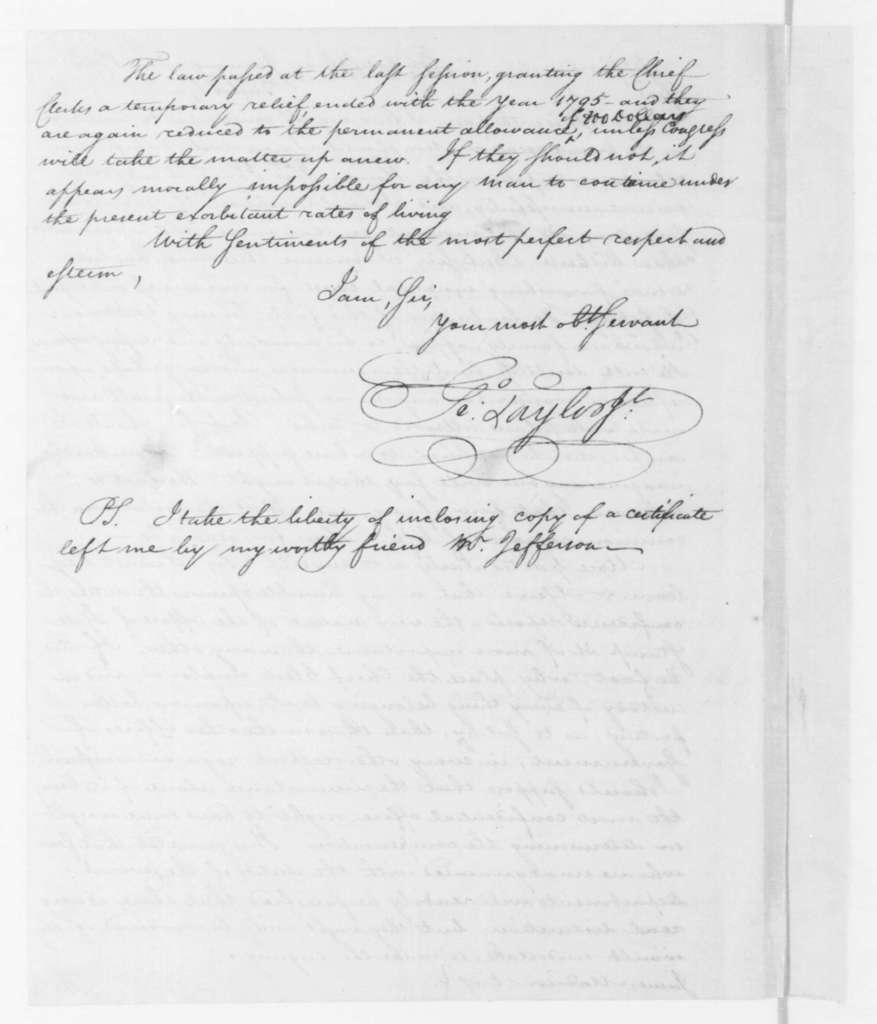George Taylor Jr. to James Madison, January 30, 1796.