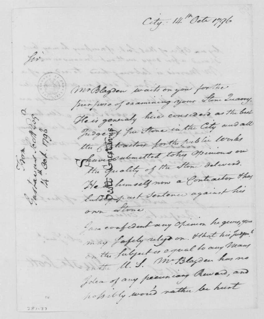 George Washington Papers, Series 4, General Correspondence: Gustavus Scott to George Washington, October 14, 1796