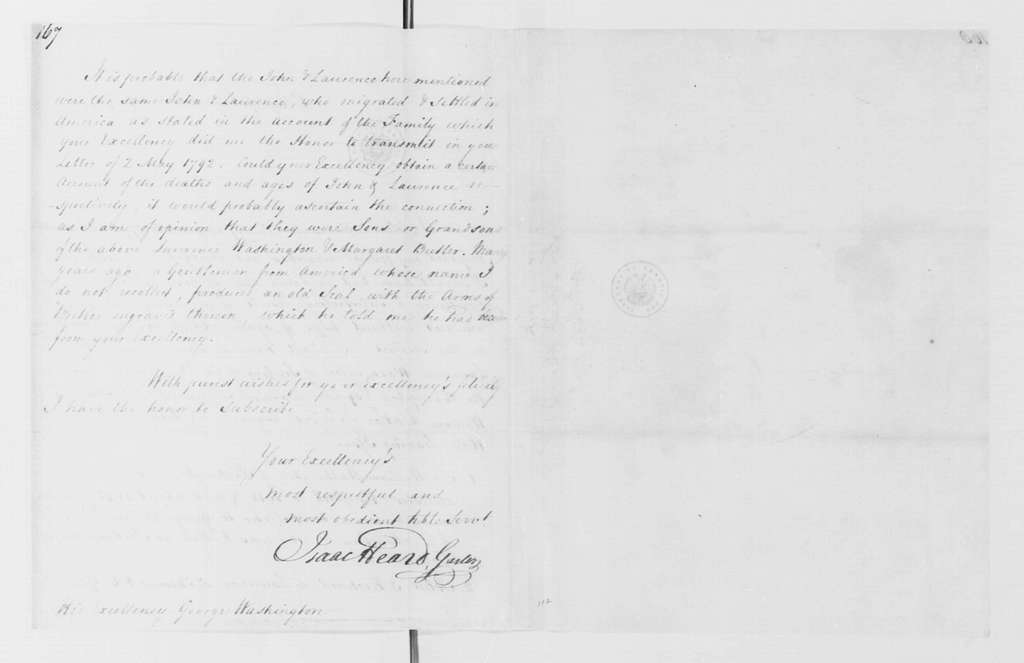 George Washington Papers, Series 4, General Correspondence: Isaac Heard to George Washington, July 10, 1796