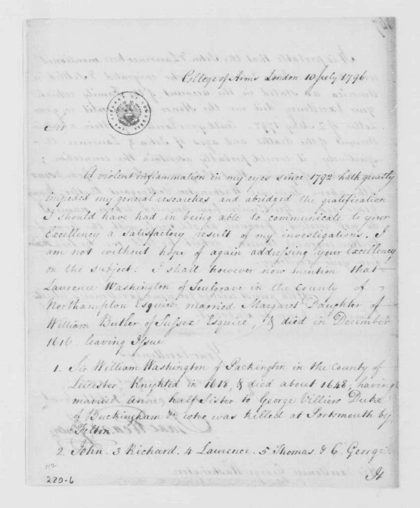 George Washington Papers, Series 4, General Correspondence: Isaac Heard to George Washington, July 10, 1796