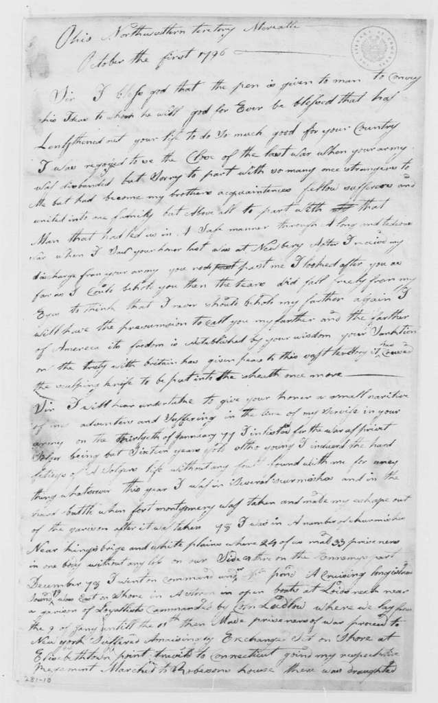 George Washington Papers, Series 4, General Correspondence: Johnson Cook to George Washington, October 1, 1796