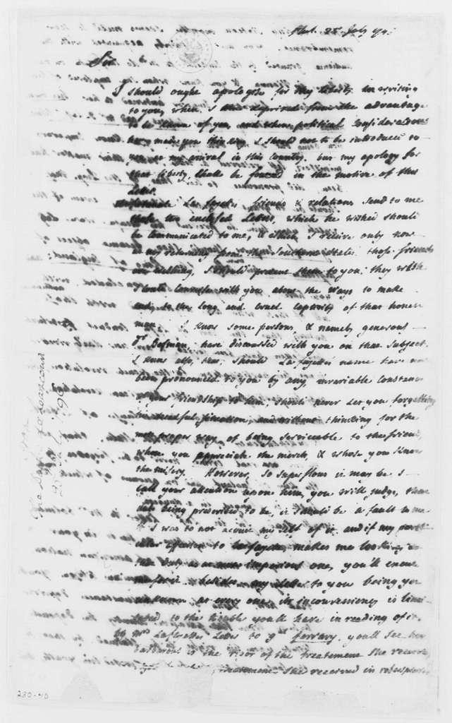 George Washington Papers, Series 4, General Correspondence: Liancourt to George Washington, July 25, 1796