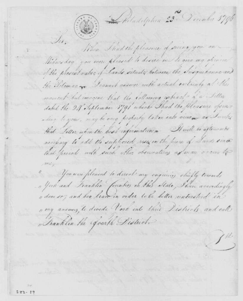 George Washington Papers, Series 4, General Correspondence: Thomas Hartley to George Washington, December 23, 1796