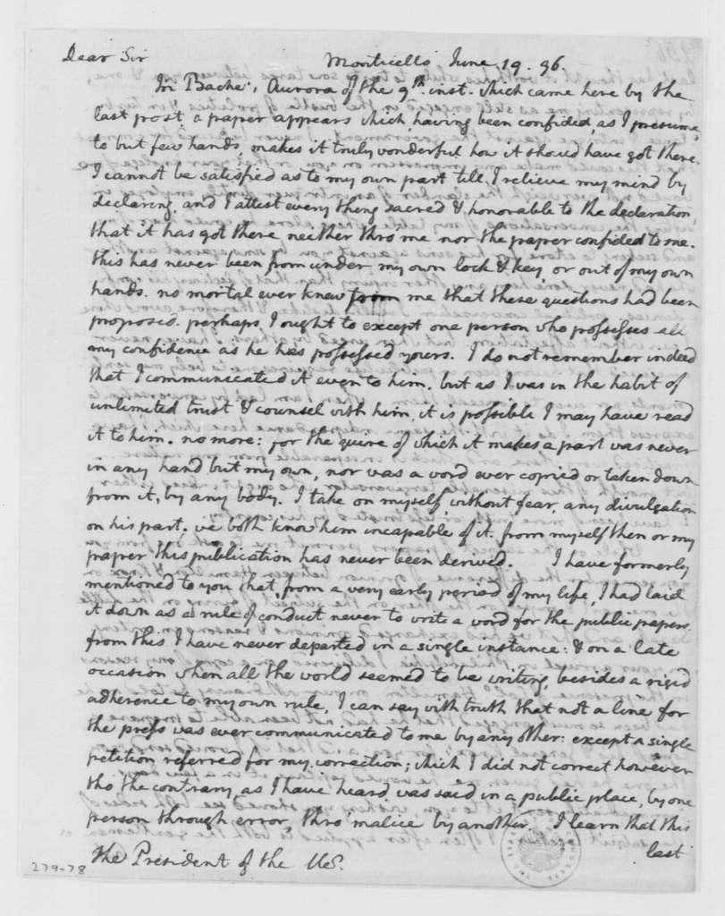 George Washington Papers, Series 4, General Correspondence: Thomas Jefferson to George Washington, June 19, 1796