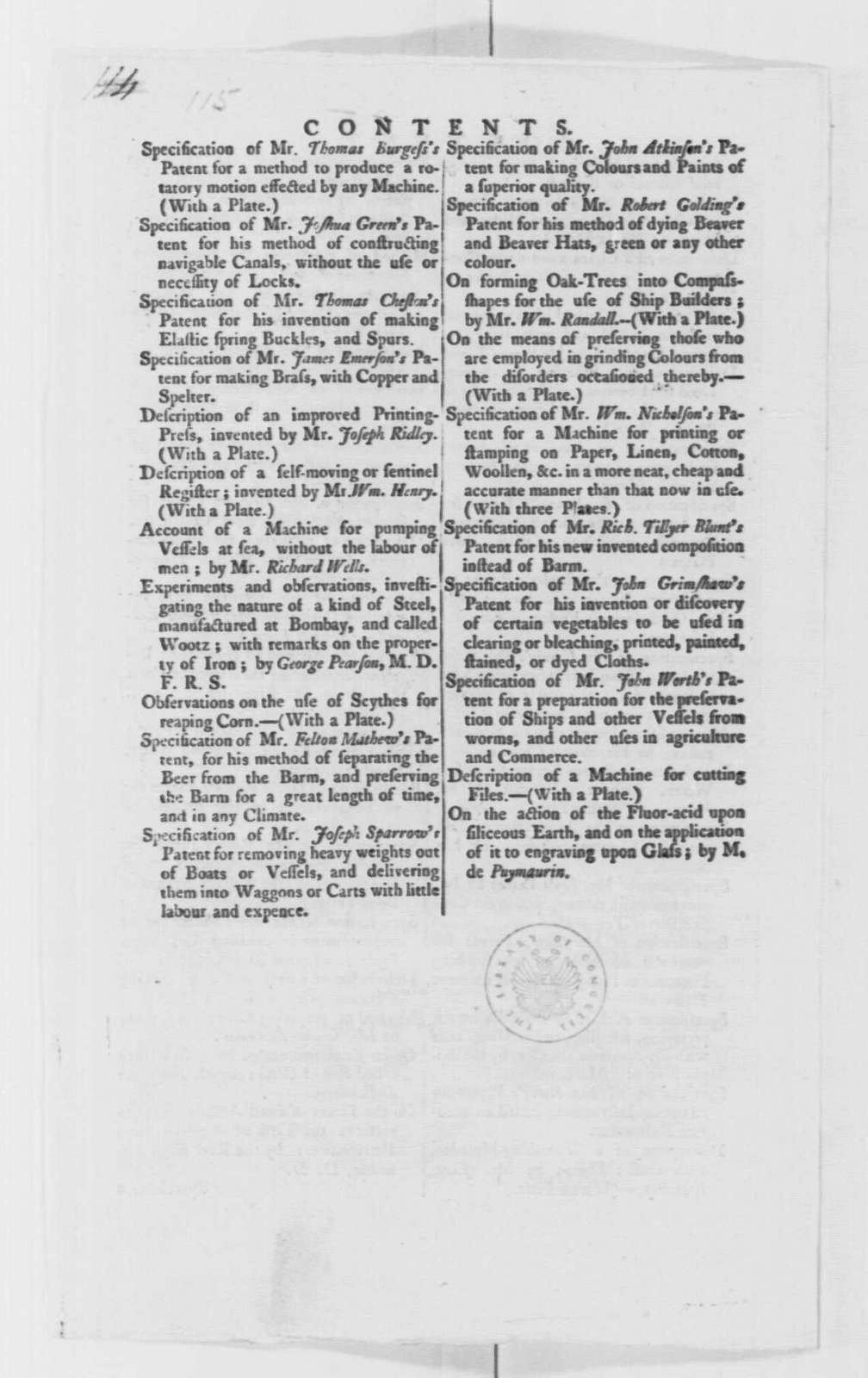 """George Washington Papers, Series 4, General Correspondence: Thomas Morton Bates to George Washington, November 4, 1796, with Pamphlet, """"The Repertory of Arts and Manufactures..."""""""
