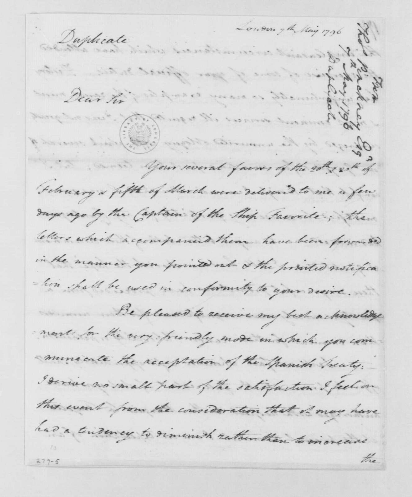 George Washington Papers, Series 4, General Correspondence: Thomas Pinckney to George Washington, May 7, 1796, with Copy