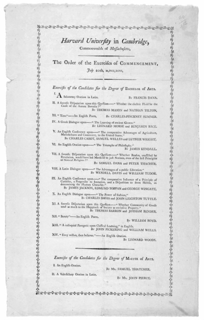 Harvard University in Cambridge, Commonwealth of Massachusetts. The order of the exercises of Commencement. July 20th,M,DCC,XCVI. [Boston: Printed by William Spotswood, 1796].