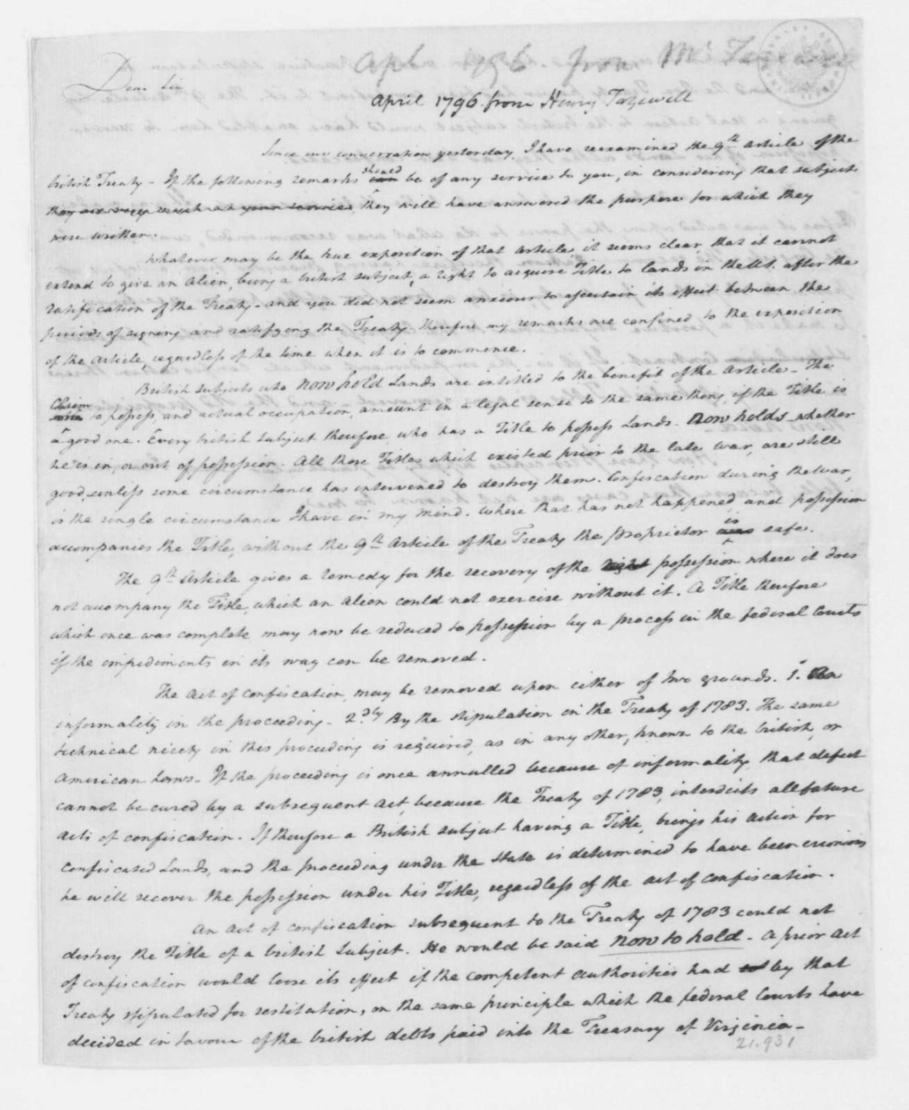 Henry Tazewell to James Madison, April 15, 1796. Fragment.