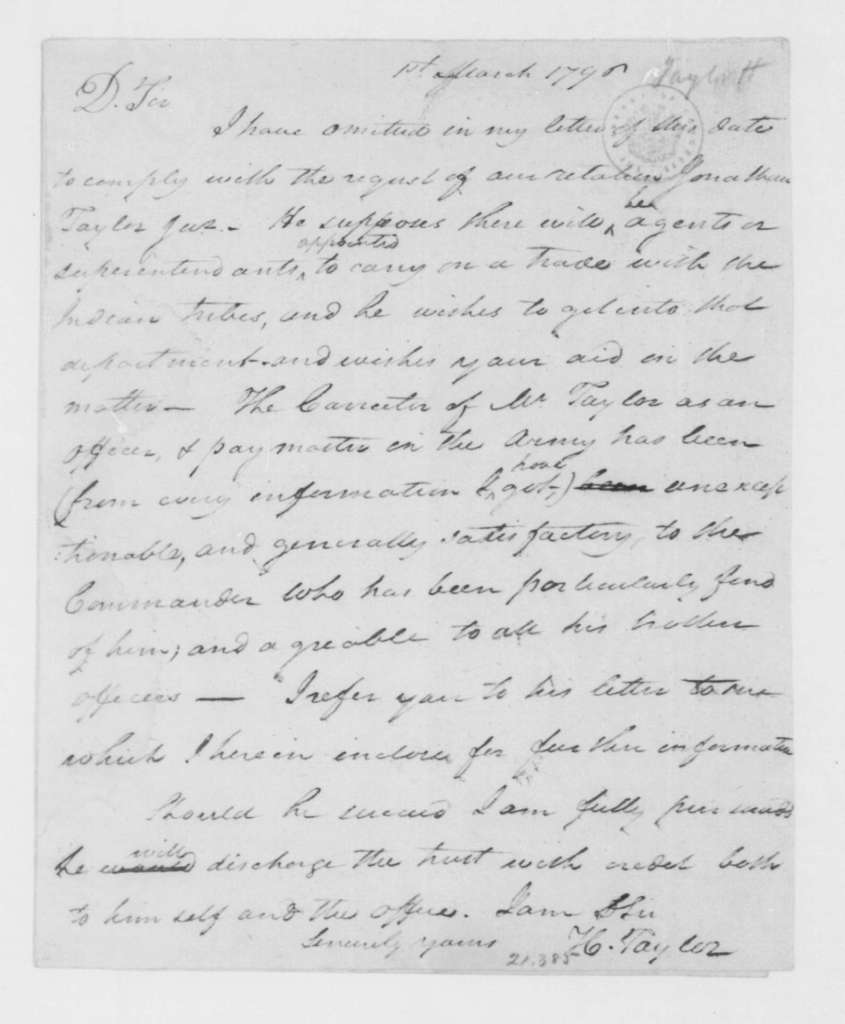 Hubbard Taylor to James Madison, March 1, 1796.