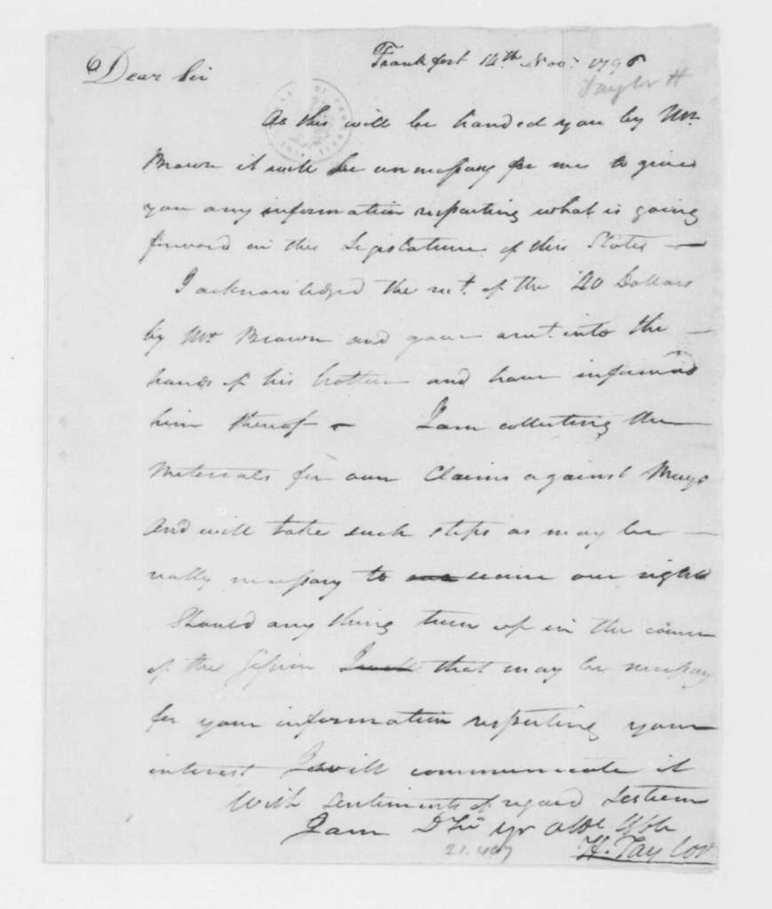 Hubbard Taylor to James Madison, November 14, 1796.