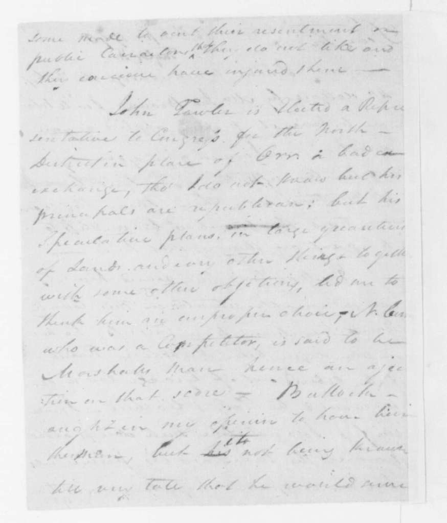 Hubbard Taylor to James Madison, September 12, 1796.