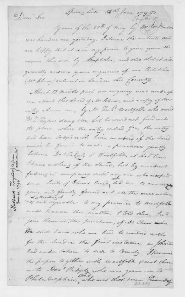 Hubbard Taylor to James Madison Sr., June 14, 1796.