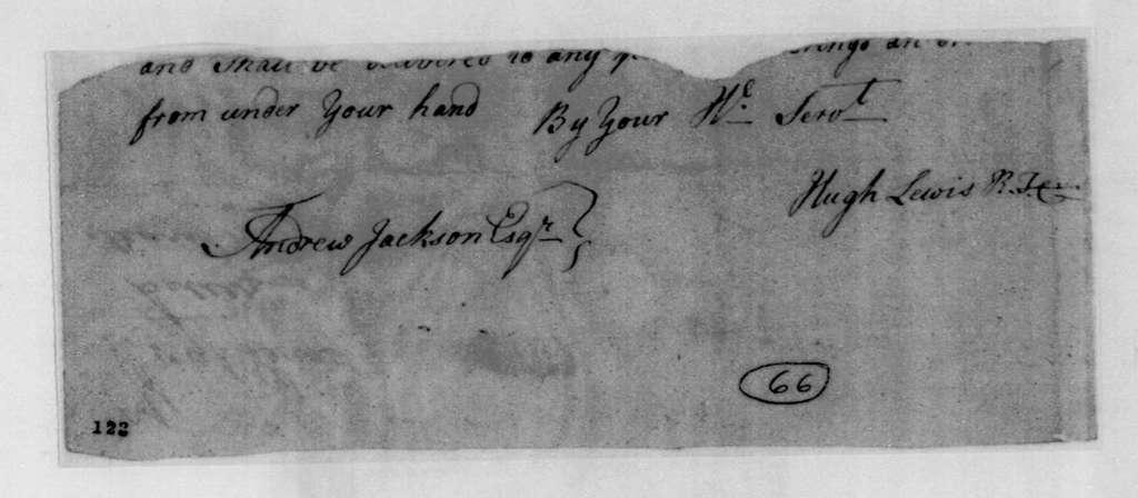 Hugh Lewis to Andrew Jackson, March 10, 1796