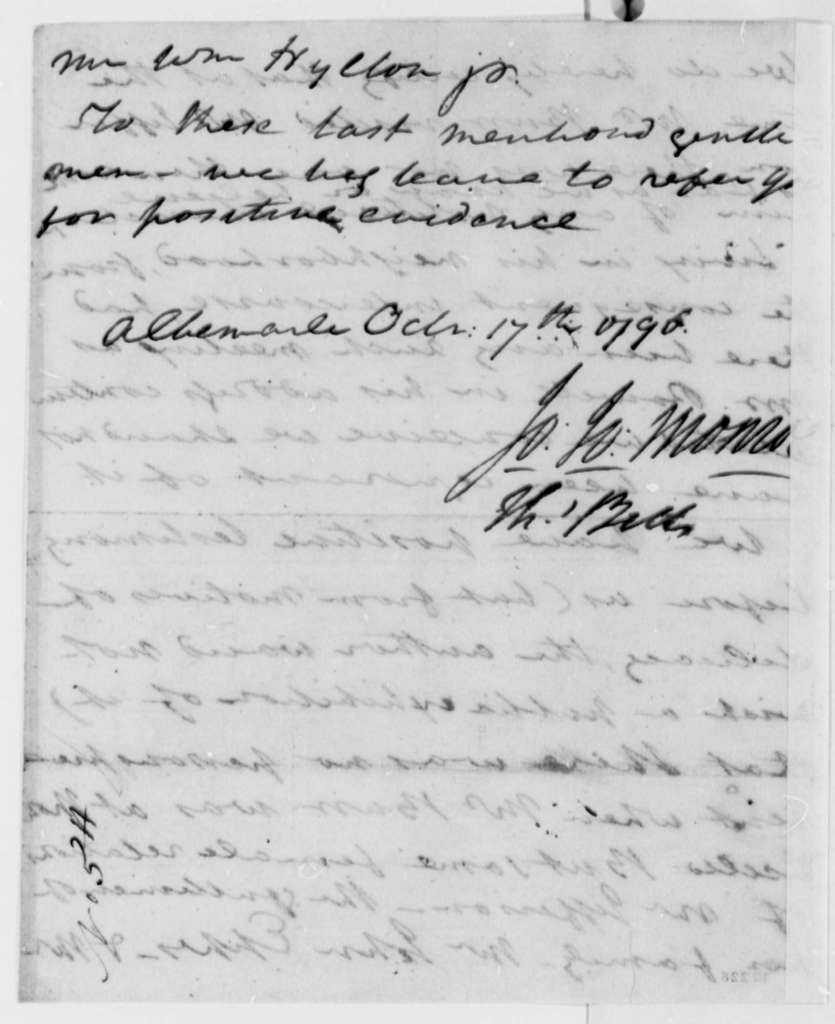 J. J. Monroe and Thomas Bell, October 17, 1796, Deposition on Aaron Burr