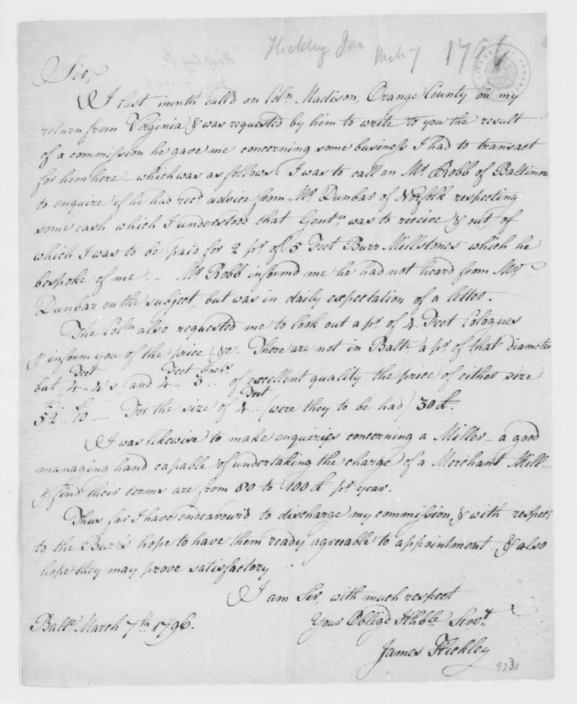 James Hickley to James Madison, March 7, 1796.