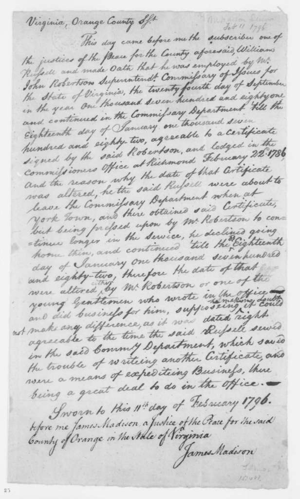 James Madison Sr., February 11, 1796. Certified Copy of Oath of employment of William Russell enclosed in William Russell's Feb. 22, 2003 letter to J. Madison.