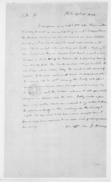 James Madison to James Madison Sr., April 25, 1796.