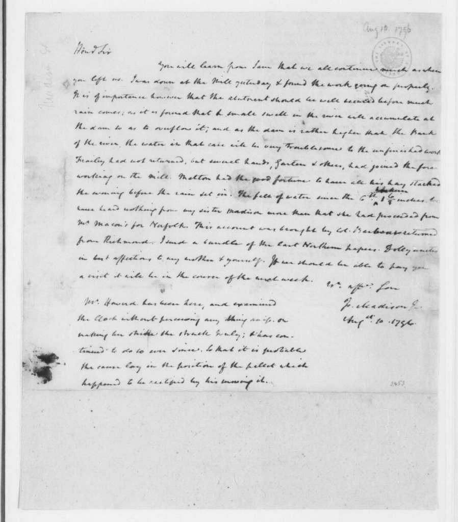 James Madison to James Madison Sr., August 10, 1796.