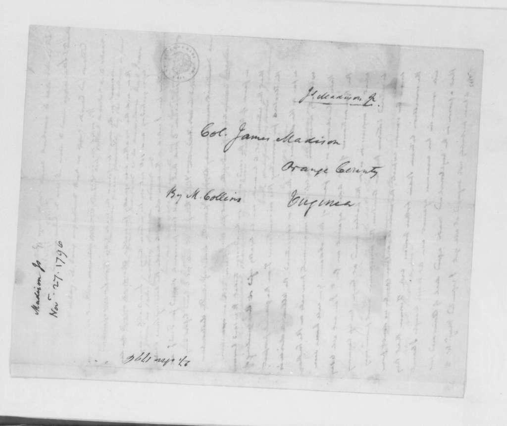 James Madison to James Madison Sr., November 27, 1796.