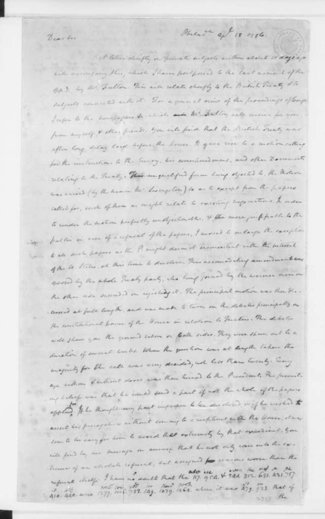 James Madison to James Monroe, April 18, 1796. Partly in cipher.