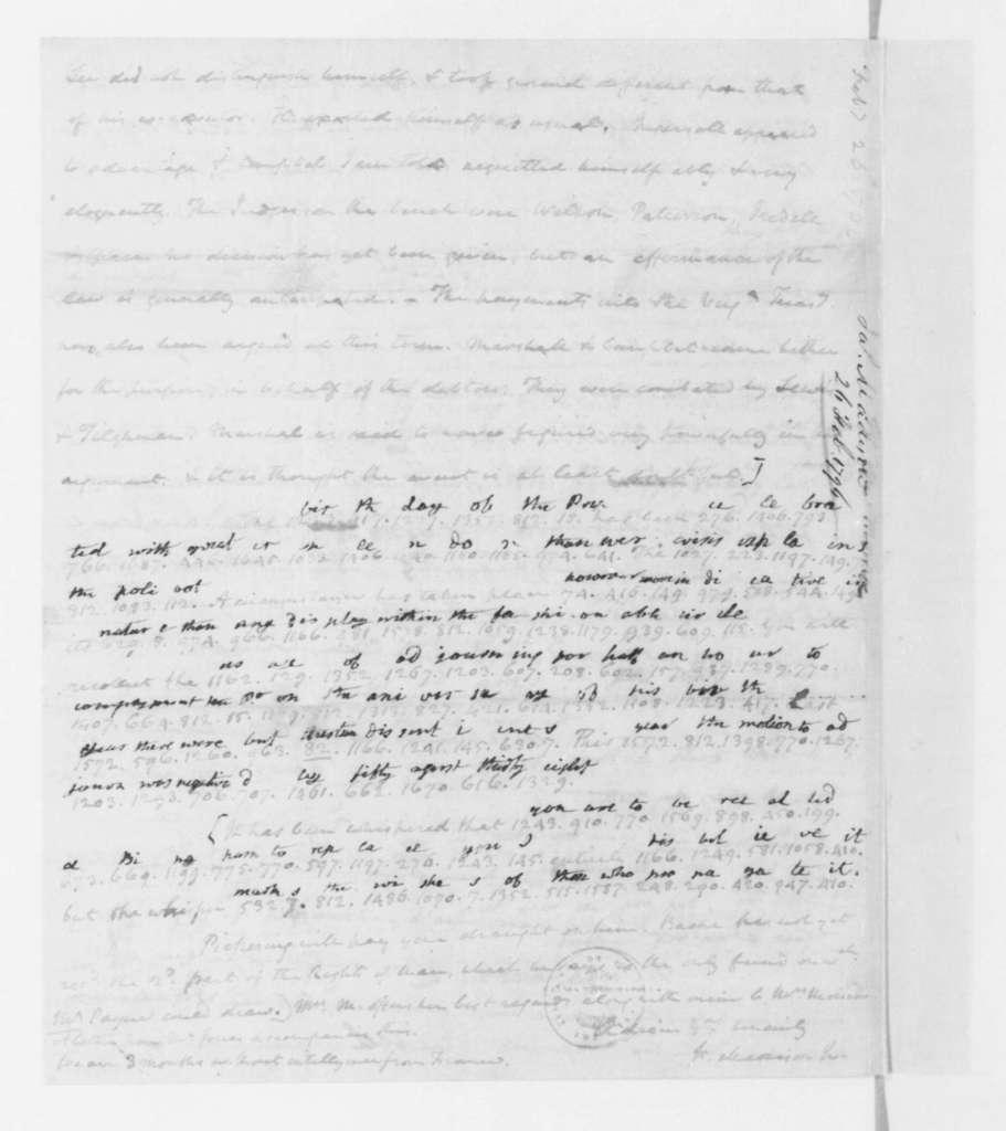 James Madison to James Monroe, February 26, 1796.