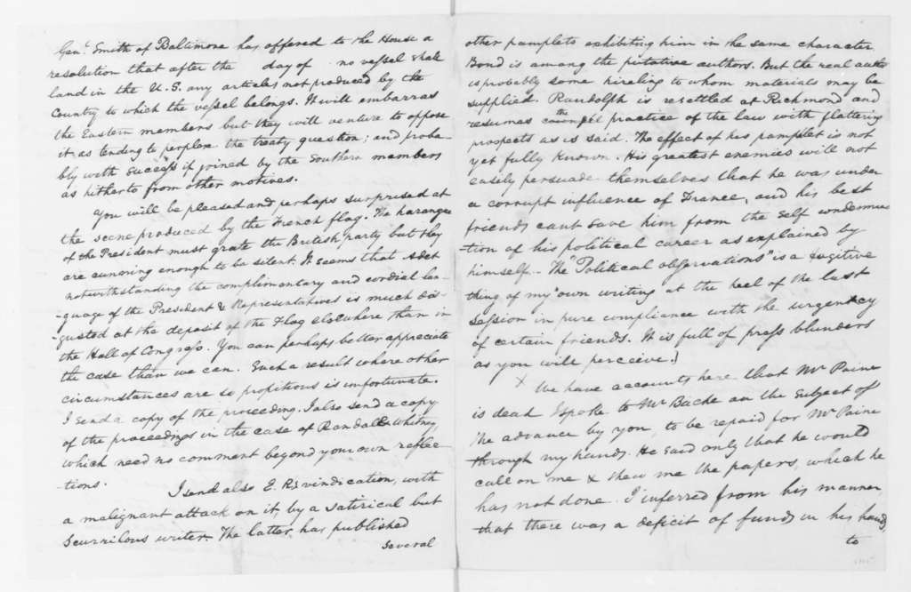 James Madison to James Monroe, January 26, 1796. Partly in cipher, double sided, includes decoded copy.