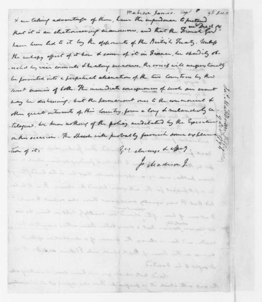 James Madison to Thomas Jefferson, December 5, 1796.