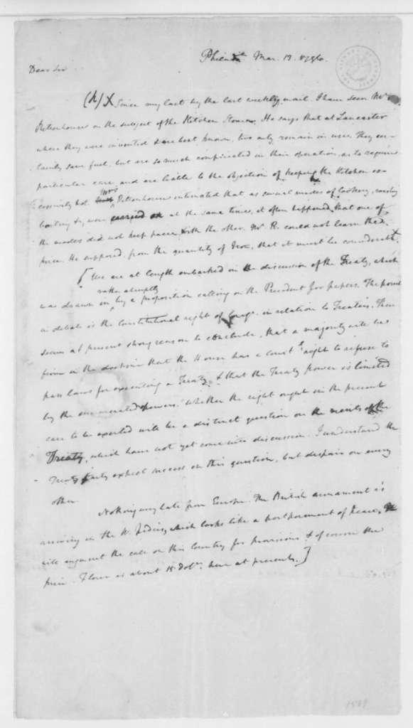 James Madison to Thomas Jefferson, March 13, 1796.