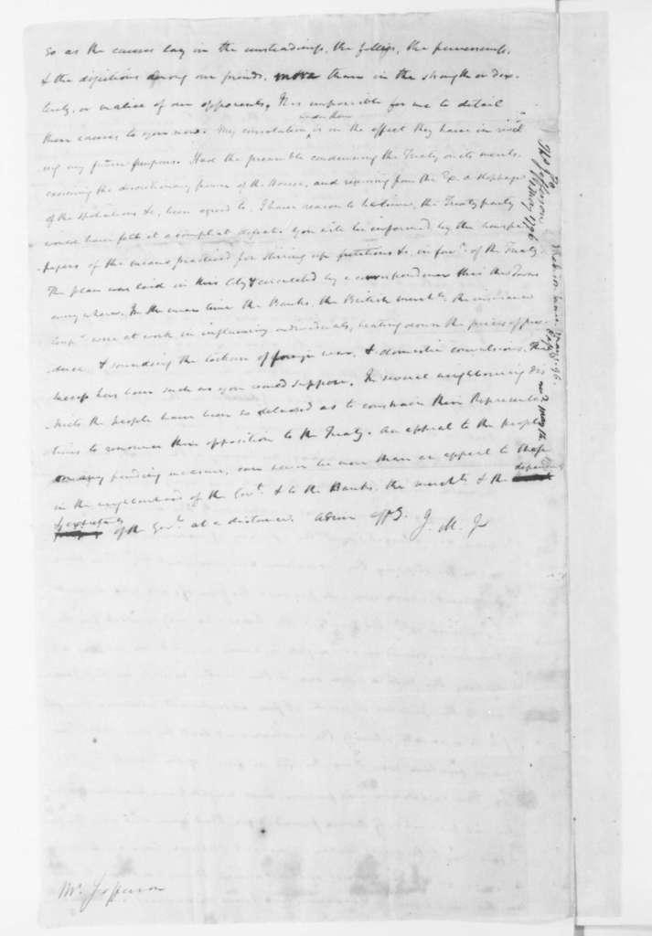 James Madison to Thomas Jefferson, May 1, 1796.