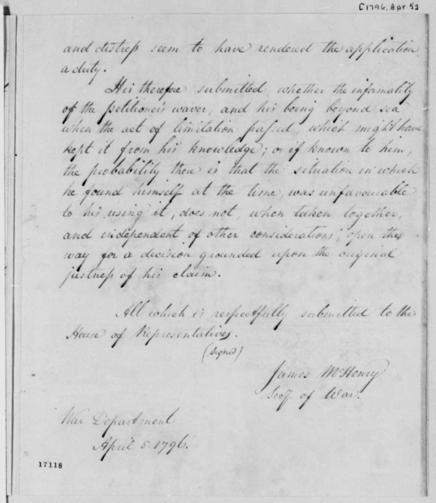 James McHenry to House of Representatives, April 5, 1796
