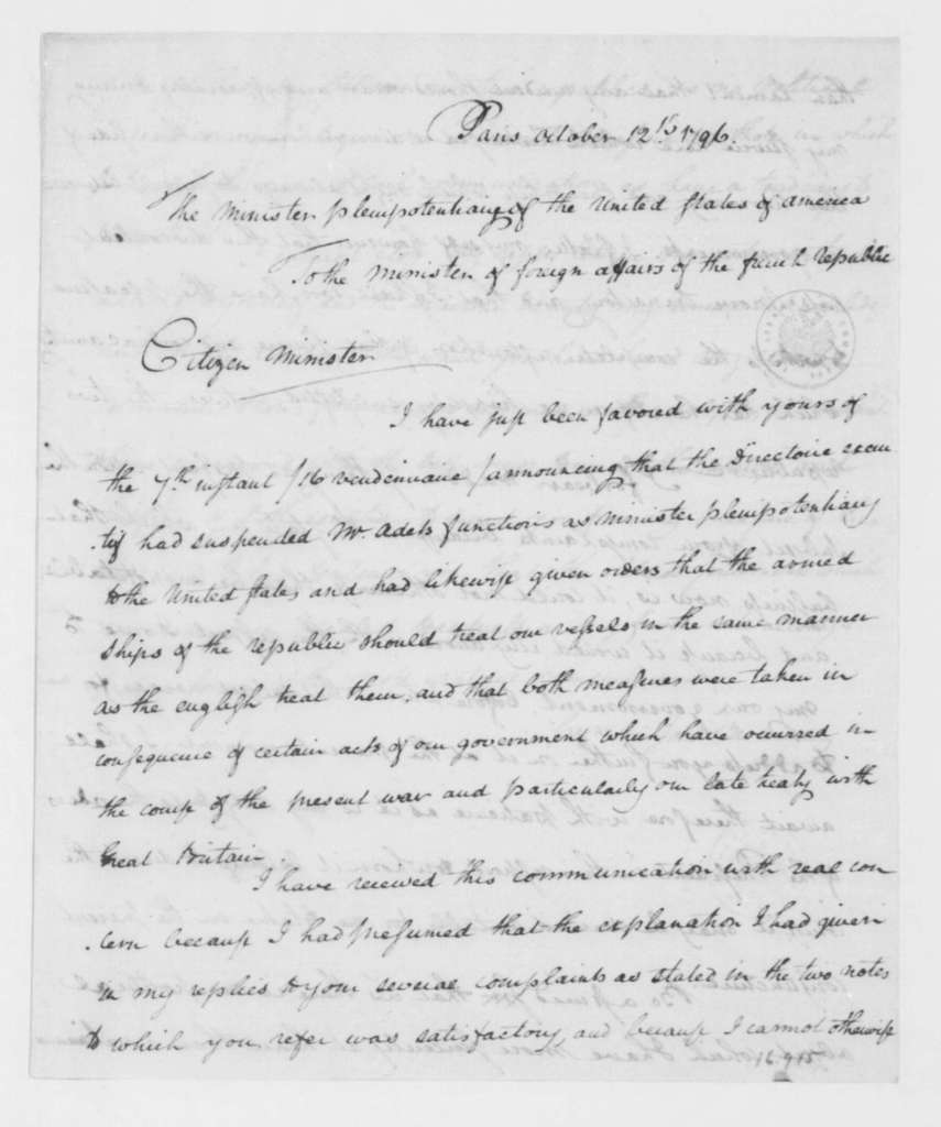 James Monroe to Charles Delacroix de Constant, October 12, 1796.