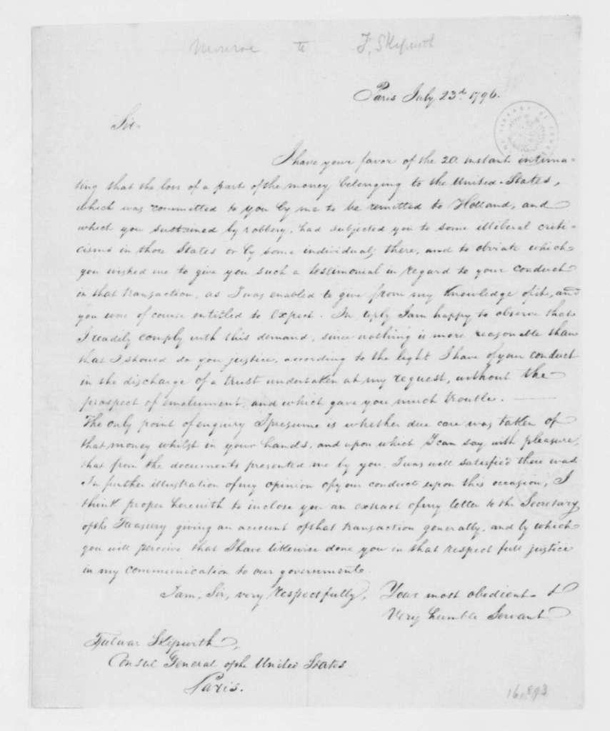 James Monroe to Fulwar Skipwith, July 23, 1796.