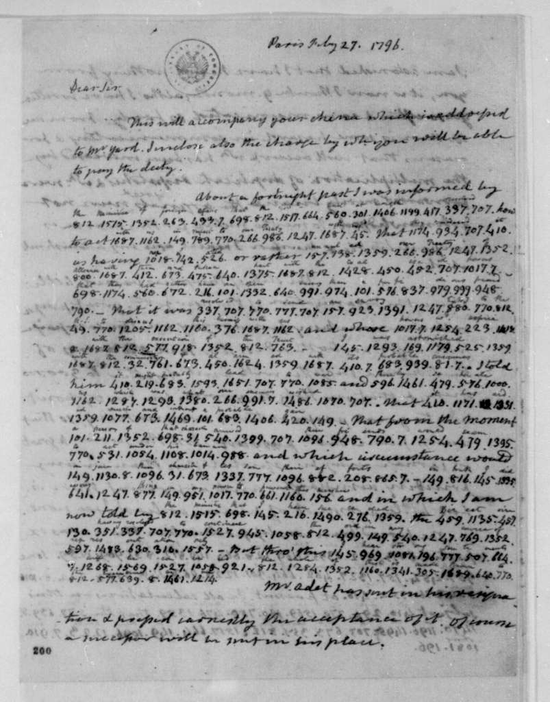 James Monroe to James Madison, February 27, 1796. Partly in cipher.