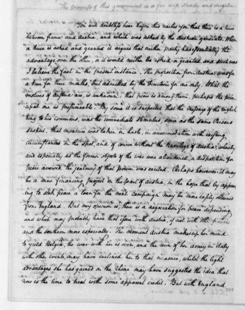 James Monroe to James Madison, January 12, 1796. Partly in cipher.