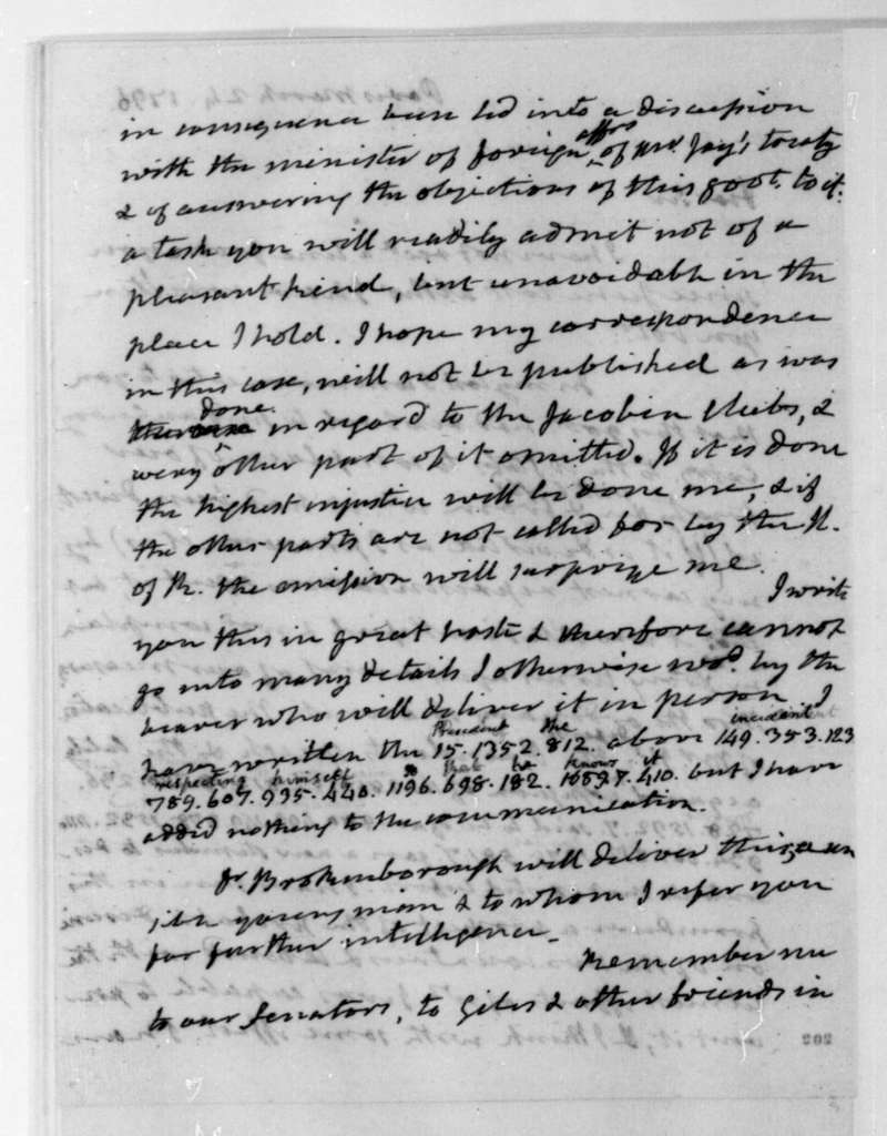 James Monroe to James Madison, March 24, 1796. Partly in cipher.