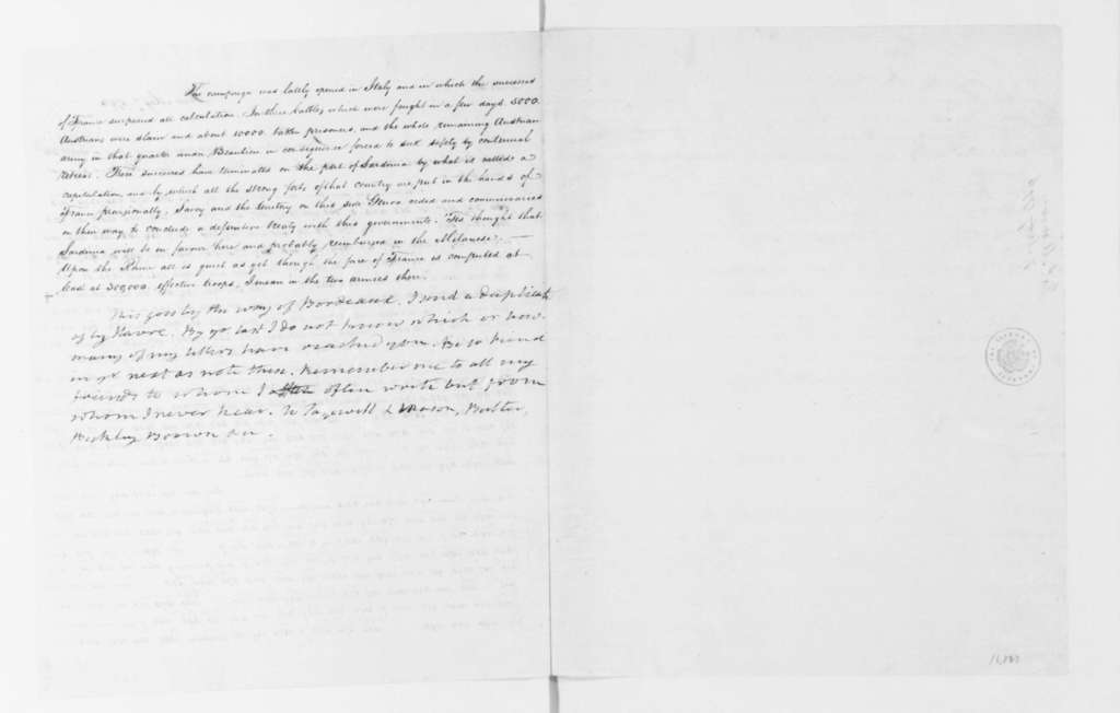 James Monroe to James Madison, May 7, 1796. Partly in cipher.
