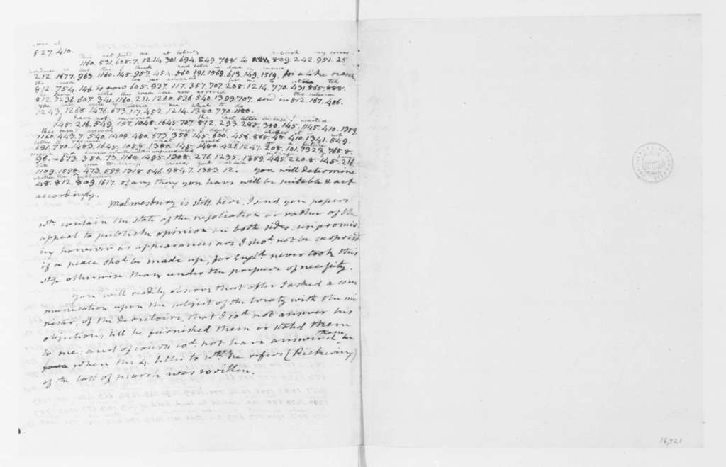 James Monroe to James Madison, November 15, 1796. Partly in Cipher.