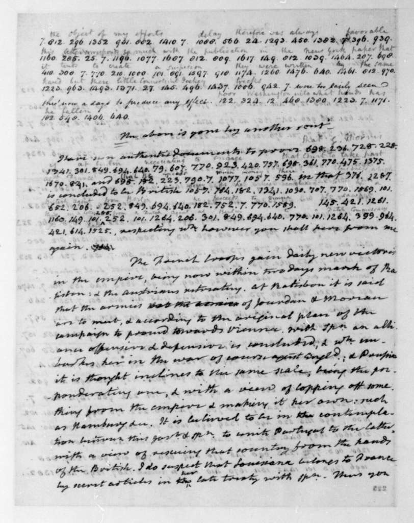 James Monroe to James Madison, September 1, 1796. Partly in cipher.