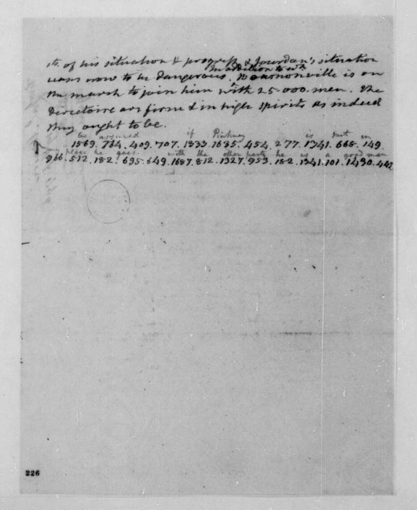 James Monroe to James Madison, September 19, 1796. Partly in cipher.