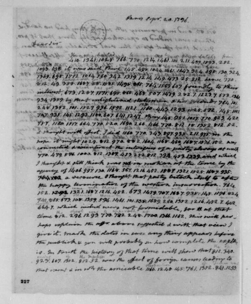 James Monroe to James Madison, September 20, 1796. Partly in cipher.