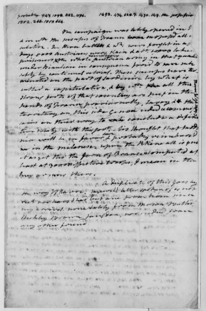 James Monroe to Thomas Jefferson, May 7, 1796, with Cipher