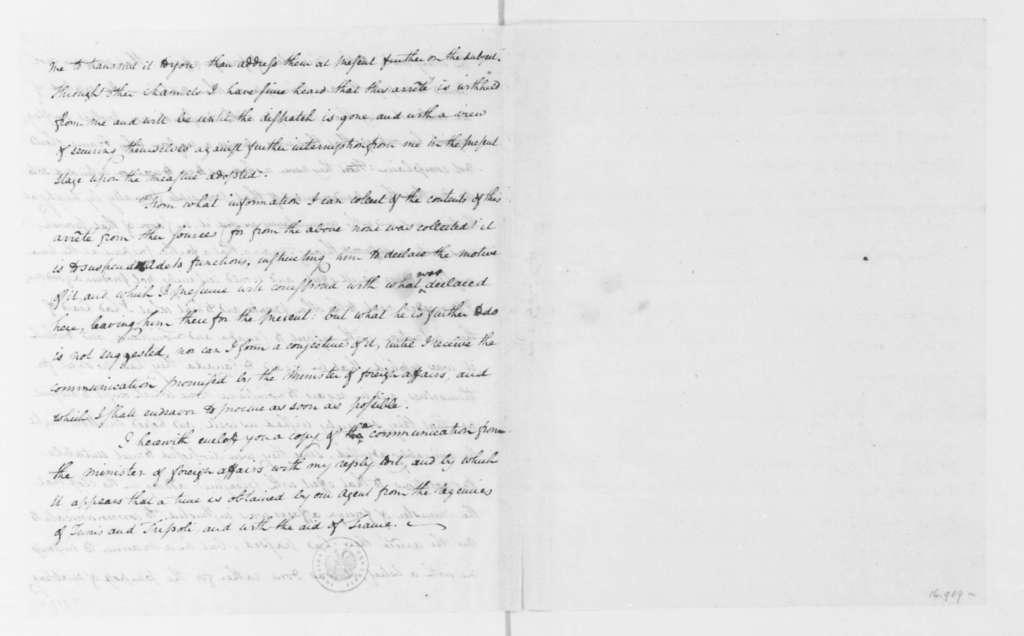 James Monroe to Timothy Pickering, September 10, 1796.