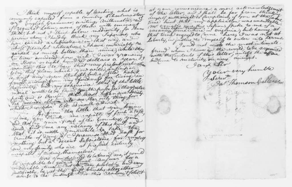 James Thomson Callender to James Madison, May 28, 1796.