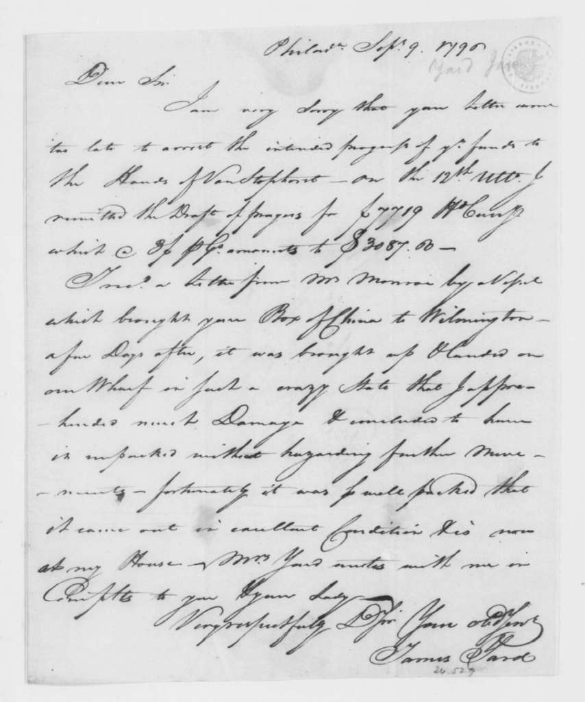 James Yard to James Madison, September 9, 1796.