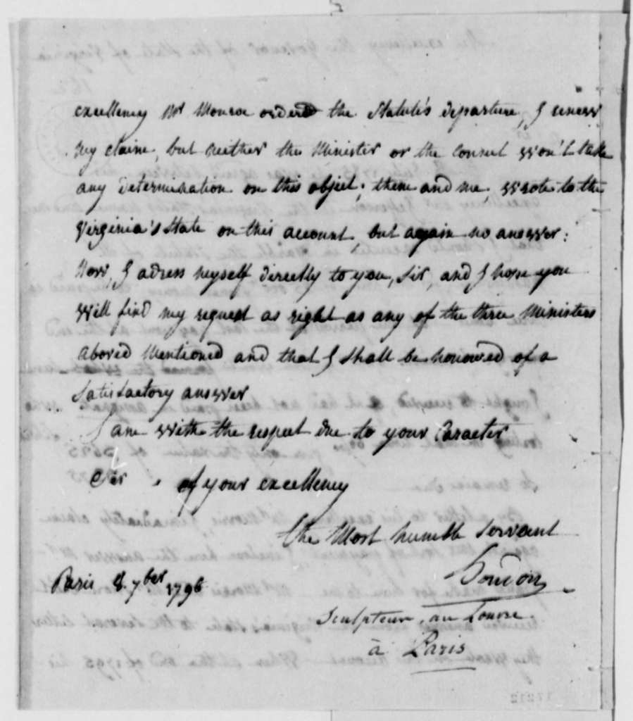 Jean A. Houdon to Thomas Jefferson, September 8, 1796, with Enclosure in French from Jean A. Houdon