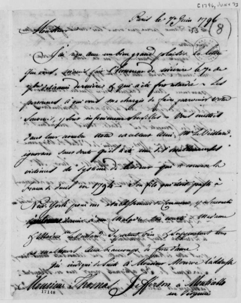 Jean Antoine Gautier to Thomas Jefferson, June 7, 1796, in French